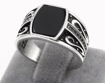 Ottoman Motif Handmade Black Zircon Stone 925 Sterling Silver Elegant Men's Ring(n14-1)