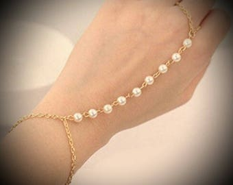Gold Faux Pearl Boho Interweave Chain Finger Ring Bracelet Hand Harness Bridesmaid Gift Jewlery