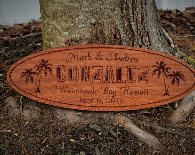 Outdoor Custom Carved Wood Family Name Sign Hawaii Name Personalize Sign Mahogany Outdoor Name Sign Couples Wedding Gift Last Name Establish
