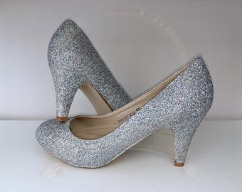 Holographic Silver Glitter Shoes - Glitter - Mid Heel - Bridal - Wedding Shoes - Bridesmaid - Prom - Party - Customised Shoes - UK Size 3-8