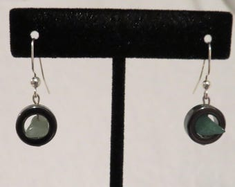 Aventurine and Hermatite Stone Earrings - One of a Kind