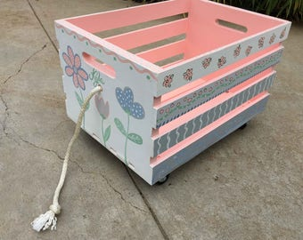 crate toy box, hand painted crate toy storage, pull toy box, kids book storage, kids furniture