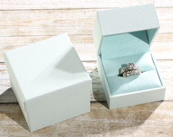 Single Engagement Wedding Ring Band Presentation Gift Box, Pale Mist Blue