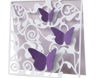 Butterfly Flourish Card , Blank Inside , Free Confetti , Purple , Spring , Fly , All Occassion , Family , Friends , 3D