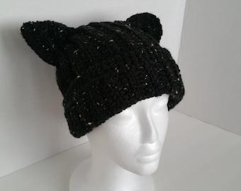 Black Cat Beanie Hat - Cat Knit Hat - Cat Ear Beanie - Cat Ear Hat - Black Cat Ear Beanie - Black Cat Hat - Black Kitty Hat - Black Neko Hat