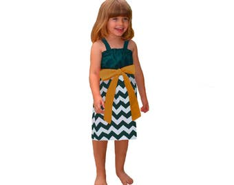 Green + Gold Chevron Game Day Dress- Girls