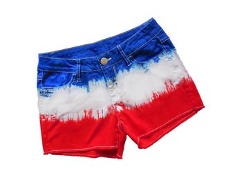 Red + Blue Tie-Dye Shorts