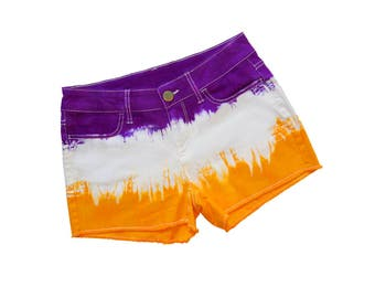 Purple and Bright Gold Tie-Dye Shorts