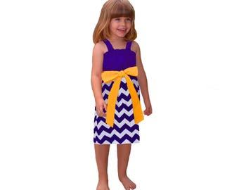 Purple + Bright Gold Chevron Game Day Dress- Girls