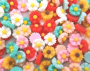 180 Daisy Cabochons 10mm Resin MIX colours