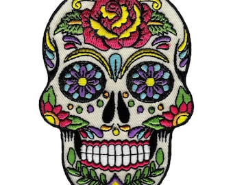SUGAR SKULL PATCH Embroidered Iron-On Dia De Los Muertos Calavera Day of the Dead Mexican Party Decoration