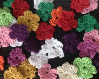 Very Tiny Crochet Flowers, 100 x 3cm, Various Colours, Free Shipping