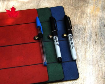 Journal Add-On: PEN LOOP - Black leather pen loop - Midori  Fieldnotes  Molskine  Faux Dori  3 sizes  Purchase ONLY with any note book cover