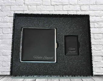 Personalized Cigarette Case and Lighter Set / Custom Engraved Name