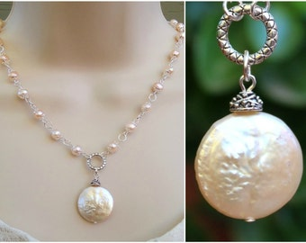 Keshi Coin Freshwater Pearl Pendant Necklace.Beaded.Baroque Pearl.Silver.Gold.Statement.Bridal.Choker.White.Infinity Circle.Gift.Handmade.