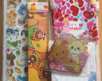 ONLY ONE!!! Japanese Kawaii Large Gift Bag - Large & Small Memos Sheets, Full Letter Sets, Sticker Flakes, Sticker Sheet - Cute!!!