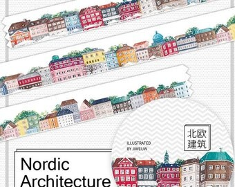 Nordic architecture Washi Tape  /Japanese Washi Tape / Deco tape TZ1589