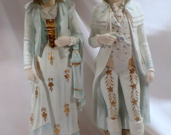 "Lage Pair of German Bisque Figurines, 19"" Height, 18th Century Dress"