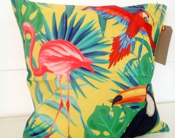 Tropical Summer Soft Furnishings, Flamingo and Foliage Cushion and Inner, Interior Design Chair or Sofa Decorative Pillow
