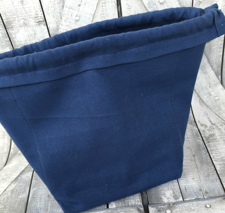 Knitting Project Bag-Navy Blue Canvas Paris Toadstool Bag,Toad Hollow Bag,Crochet Project Bag,Sock bag,xlarge yarn keeper,wedge knitting bag