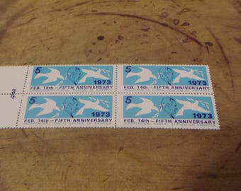 1973/ 5th Anniversary PRIVATE POST IPSA Stamp Feb 14/ 4 Stamp Block