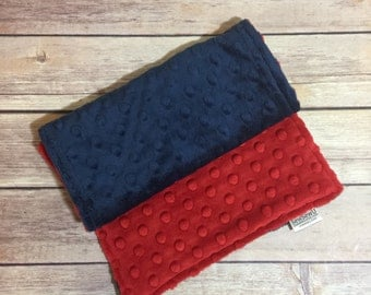 Red Blue Burp Cloth Set  Available Mix and Match  Made to Order, Monogramming Option