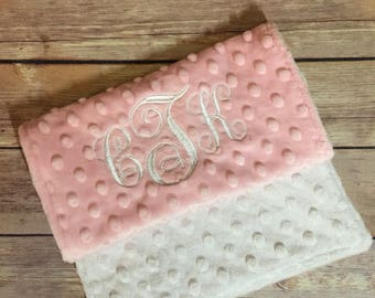 Baby Pink and White Elegant Burp Cloth Set Available Mix and Match  Made to Order, Monogramming Option