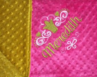 Baby Blanket Crown Baby Crown Blanket Princess Pink Gold Princess Blanket Toddler Blanket Daycare Blanket Adult Minky Blanket Crown Custom