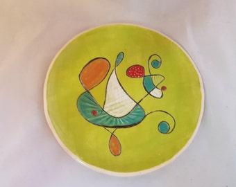 Ceramic mid-century design salad or dessert plate chartreuse hand made