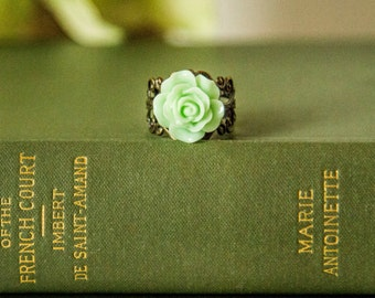 Mint Rose Ring, Antique Brass, Adjustable Ring, Gift for Her