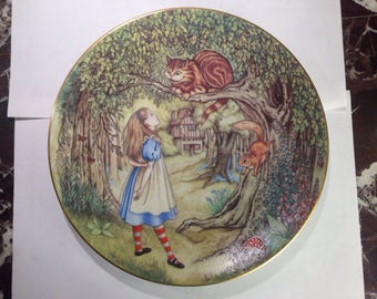 Alice In Wonderland Alice And The Chesire Cat Porcelain Limoges France Collectible Plate