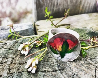 Real rose preserved in resin sterling silver ring, terrarium jewelry , beautiful , nature, red, boho, love, mother, gift, red, om