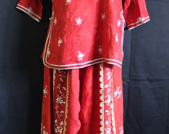 Silk Chinese pre-revolutionary traditional wedding red pant top set embroidered flowers lace fringe trim Cheongsam Edwardian Victorian