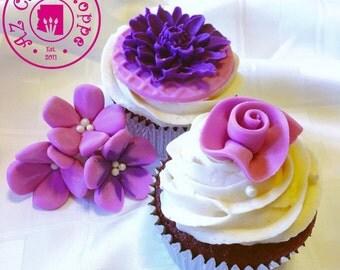 Edible Fondant Fantasy Flower Cupcake Toppers