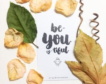 Be-YOU-tiful Encouraging Mini Bookmark (Pack of 10)
