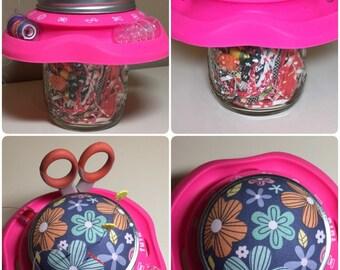 Sewing caddy- Mason jar tutu orginizer   Includes Mason jar