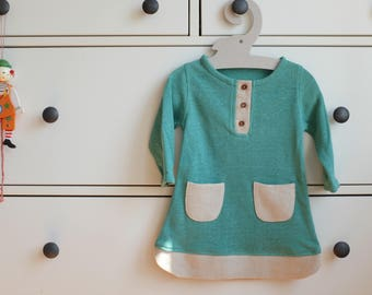 Natural baby girl dress from hemp, Teal baby dress, Organic dress, Baby outfit, Hemp dress FREE SHIPPING