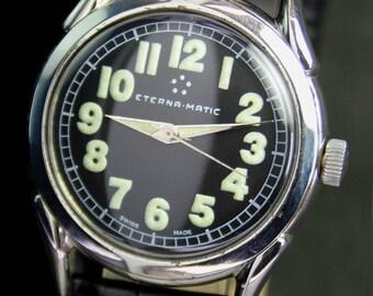 Vintage Eterna-matic Automatic Steel Mens Watch Black Radium Dial - 12285
