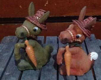 Vintage Flocked Easter Donkeys With Blow Mold Carrots, Vintage Flocked Animals