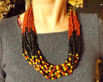 Nepalese Necklace, 70s, in multicolored glass paste on 12 rows