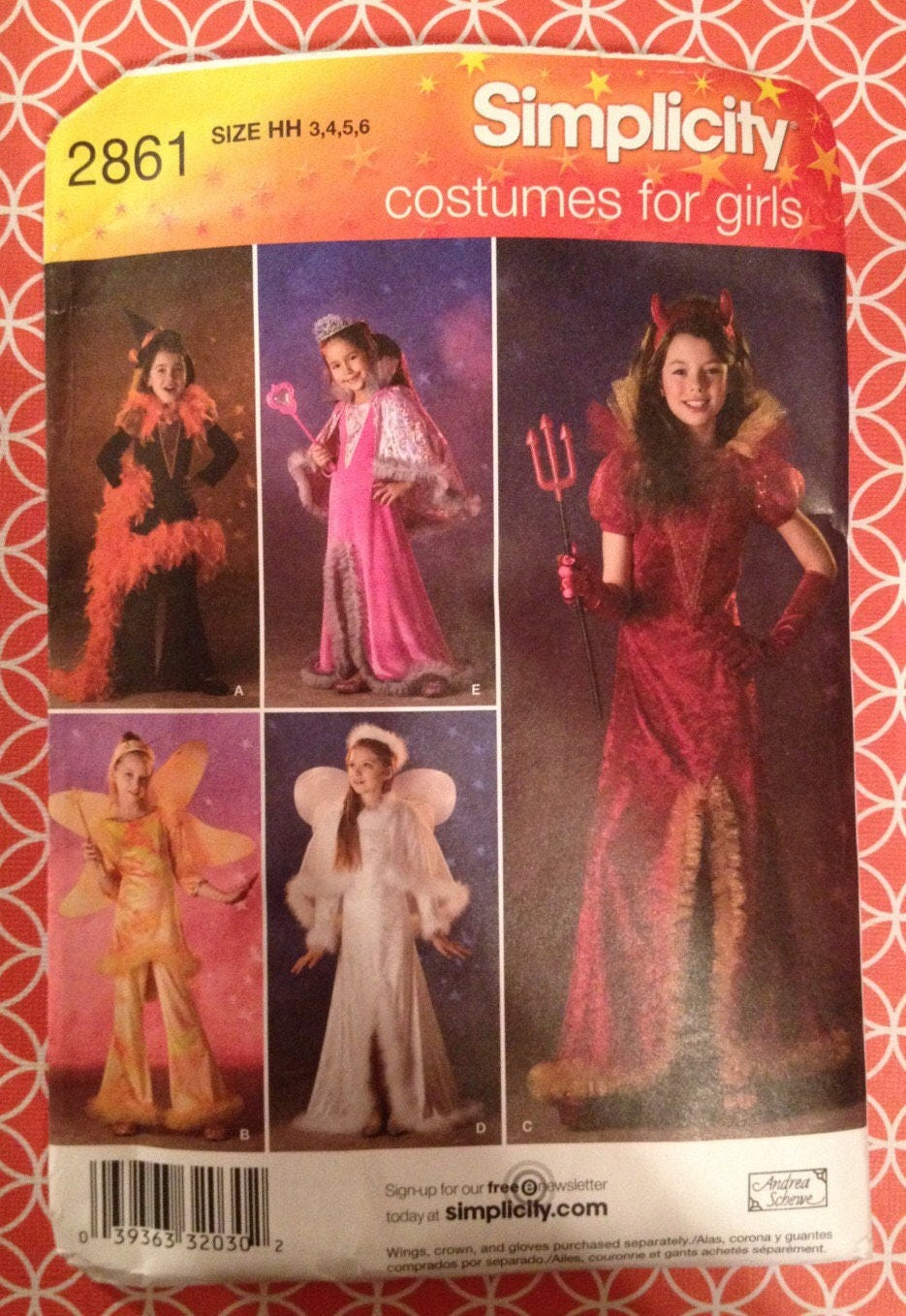 CLEARANCE Uncut Simplicity Sewing PATTERN 2861 Childs Witch, Angel ...