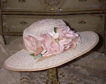 Sale~Antique ~ 1900's Victorian Pink ROSES & Satin RIBBON Wicker Ladie's  Brimmed Hat