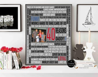 Fathers Day gift / Fathers Day Gift for Daddy / Husband Gift / 40th birthday gift / 40 Reasons We love you / Digital Download /