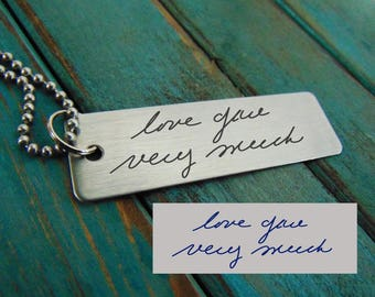 Stainless Handwritten Keychain  - Actual Handwriting - Brushed Stainless Steel Gift- Key Chain engraved with your message and hand writing