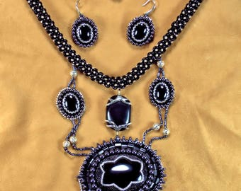Black beaded Onyx necklace and earring set