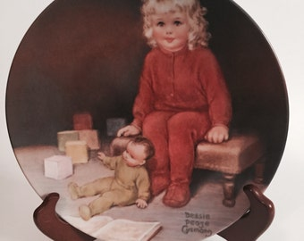 Waiting For Daddy Collectors Plate / Bessie Pease Gutmann Plate / Waiting For Daddy / 1982 Waiting For Daddy Plate /