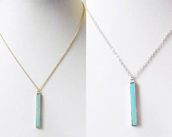 turquoise bar necklace, turquoise necklace, gold bar necklace, bar pendant necklace, turquoise pendant necklace, vertical bar necklace