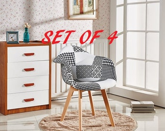 Set Of 4 Patchwork Scandinavian Tub Chair Modern Living Room Dining Room Chair Mid Century Design With Arms