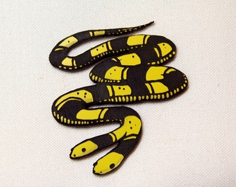 Two Headed Snake Pin, yellow and black, laser cut acrylic