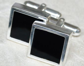 Black Onyx Square Sterling Silver Cufflinks